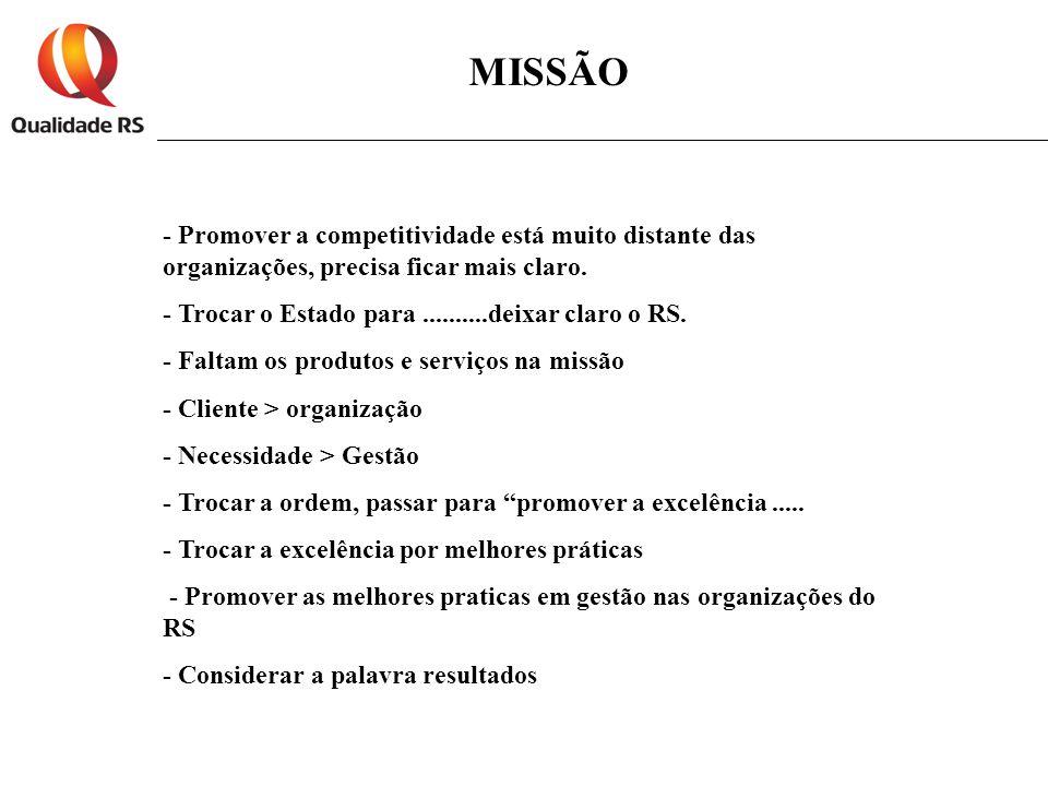 MISSÃO - Promover a competitividade está muito distante das organizações, precisa ficar mais claro.