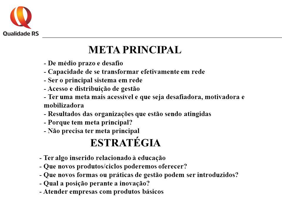 META PRINCIPAL - De médio prazo e desafio - Capacidade de se transformar efetivamente em rede - Ser o principal sistema em rede - Acesso e distribuição de gestão - Ter uma meta mais acessível e que seja desafiadora, motivadora e mobilizadora - Resultados das organizações que estão sendo atingidas - Porque tem meta principal.