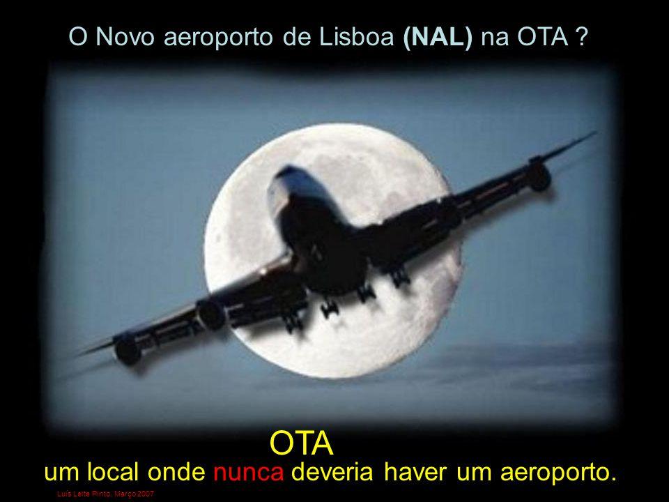 O local previsto para a implantação do Novo Aeroporto de Lisboa (NAL) é uma zona de aluvião, com altitudes de 2 a 3 metros, onde confluem 3 linhas de água: O Rio de Alenquer (no limite sul) A Ribeira e Paul do Alvarinho (atravessa a zona central do NAL) O Rio e Paul de Ota (coincidente com a pista este do NAL) [in www.alambi.net OTA2006»»SlideShare]www.alambi.net