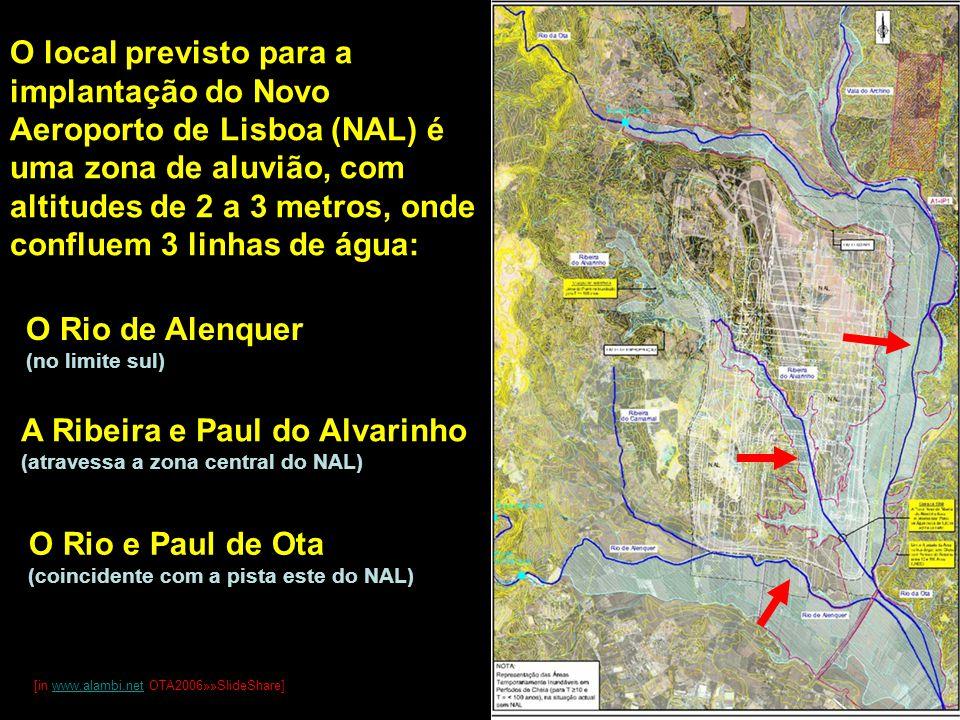 O local previsto para a implantação do Novo Aeroporto de Lisboa (NAL) é uma zona de aluvião, com altitudes de 2 a 3 metros, onde confluem 3 linhas de