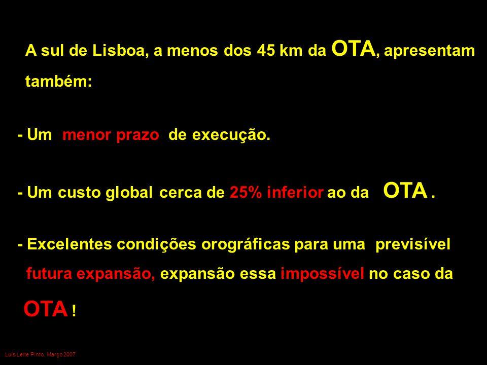 - Um menor prazo de execução. - Um custo global cerca de 25% inferior ao da OTA. A sul de Lisboa, a menos dos 45 km da OTA, apresentam também: - Excel