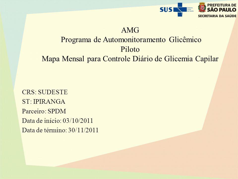 AMG Programa de Automonitoramento Glicêmico Piloto Mapa Mensal para Controle Diário de Glicemia Capilar CRS: SUDESTE ST: IPIRANGA Parceiro: SPDM Data de início: 03/10/2011 Data de término: 30/11/2011