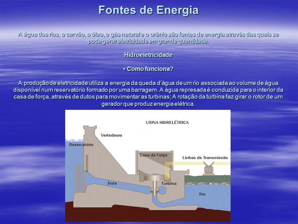 Fontes de Energia A água dos rios, o carvão, o óleo, o gás natural e o urânio são fontes de energia através das quais se pode gerar eletricidade em gr