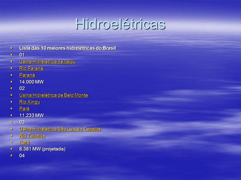 Hidroelétricas  Lista das 10 maiores hidrelétricas do Brasil  01  Usina Hidrelétrica de Itaipu Usina Hidrelétrica de Itaipu Usina Hidrelétrica de I