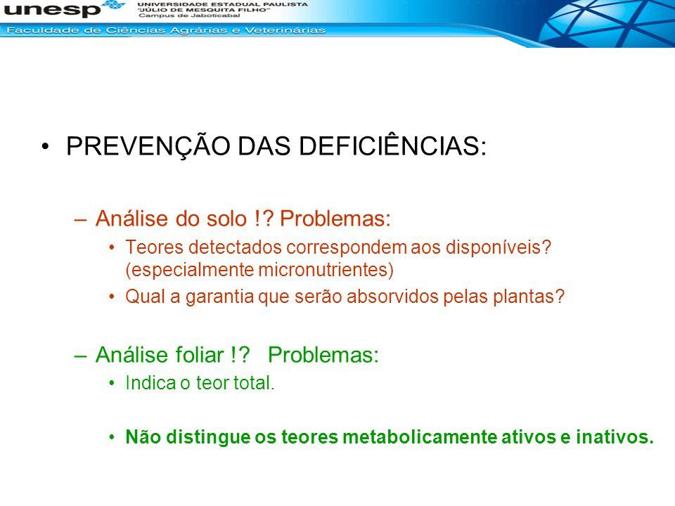 PREVENÇÃO DAS DEFICIÊNCIAS: –Análise do solo !? Problemas: Teores detectados correspondem aos disponíveis? (especialmente micronutrientes) Qual a gara