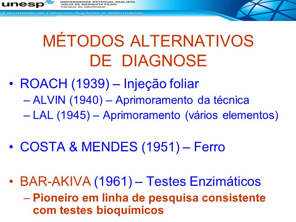 MÉTODOS ALTERNATIVOS DE DIAGNOSE ROACH (1939) – Injeção foliar –ALVIN (1940) – Aprimoramento da técnica –LAL (1945) – Aprimoramento (vários elementos)