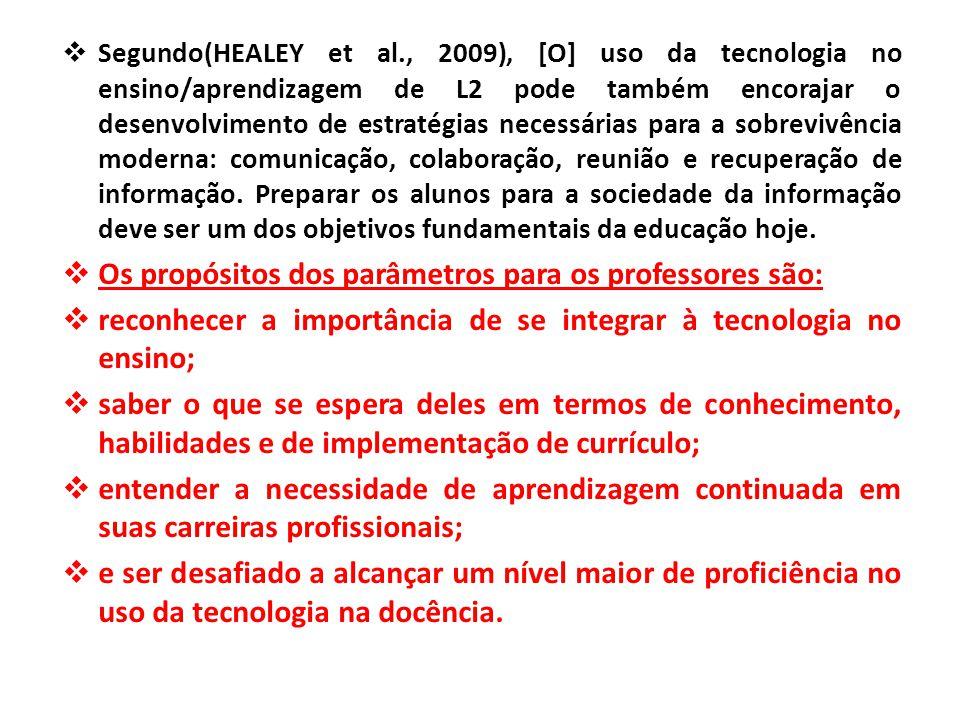  Segundo(HEALEY et al., 2009), [O] uso da tecnologia no ensino/aprendizagem de L2 pode também encorajar o desenvolvimento de estratégias necessárias para a sobrevivência moderna: comunicação, colaboração, reunião e recuperação de informação.