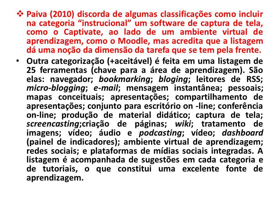  Paiva (2010) discorda de algumas classificações como incluir na categoria instrucional um software de captura de tela, como o Captivate, ao lado de um ambiente virtual de aprendizagem, como o Moodle, mas acredita que a listagem dá uma noção da dimensão da tarefa que se tem pela frente.