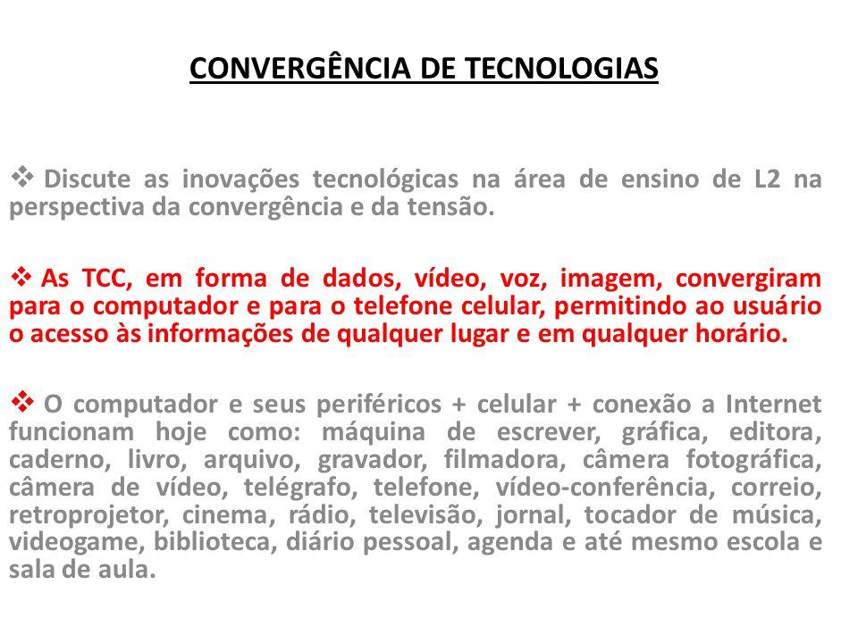 CONVERGÊNCIA DE TECNOLOGIAS  Discute as inovações tecnológicas na área de ensino de L2 na perspectiva da convergência e da tensão.