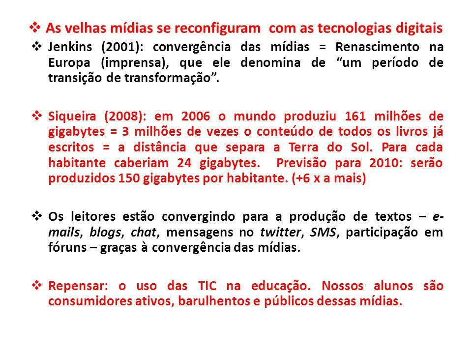 As velhas mídias se reconfiguram com as tecnologias digitais  Jenkins (2001): convergência das mídias = Renascimento na Europa (imprensa), que ele denomina de um período de transição de transformação .