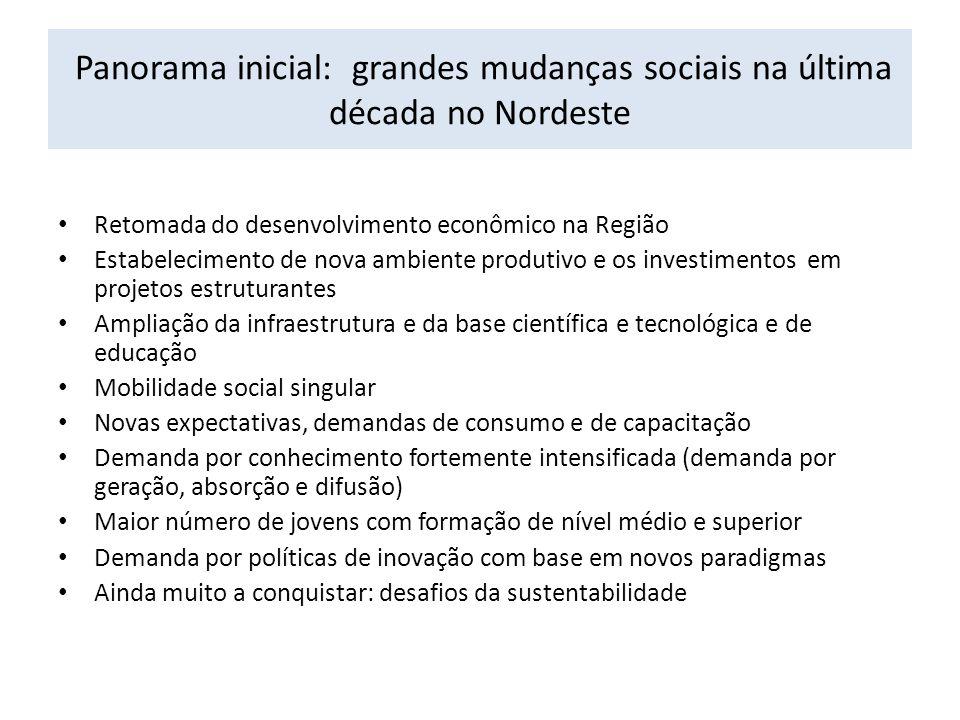 Panorama inicial: grandes mudanças sociais na última década no Nordeste Retomada do desenvolvimento econômico na Região Estabelecimento de nova ambien