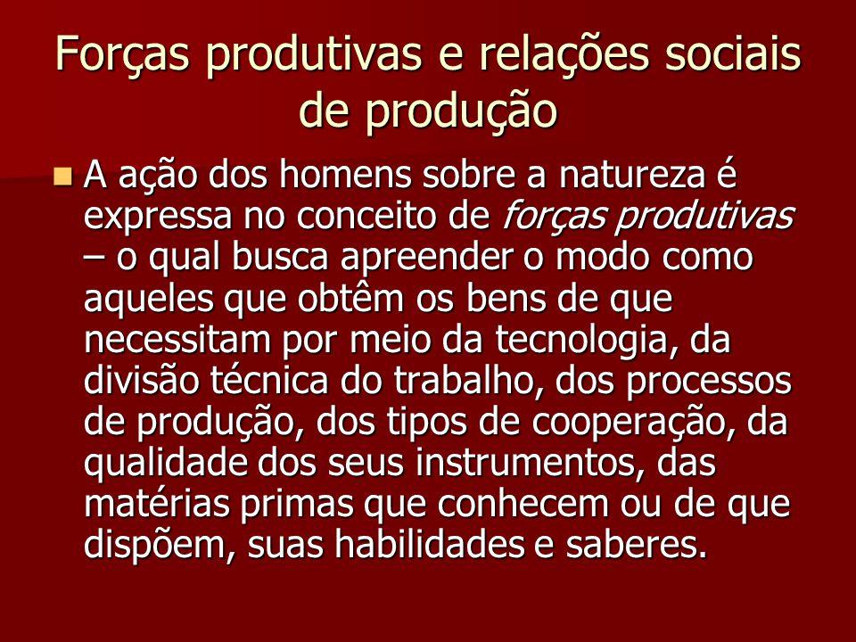 Forças produtivas e relações sociais de produção A ação dos homens sobre a natureza é expressa no conceito de forças produtivas – o qual busca apreend