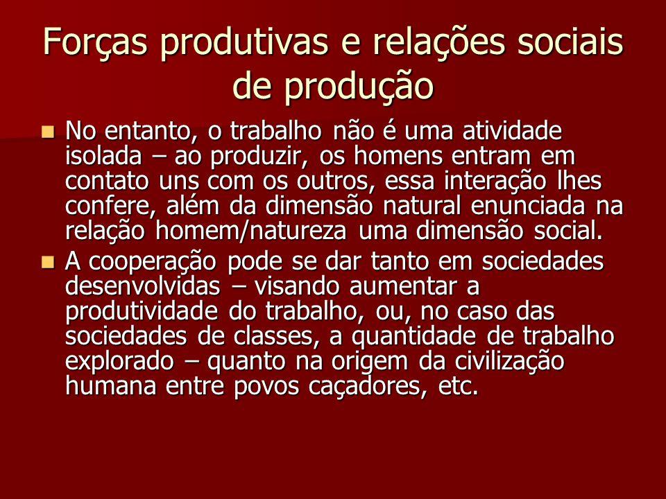 Forças produtivas e relações sociais de produção No entanto, o trabalho não é uma atividade isolada – ao produzir, os homens entram em contato uns com
