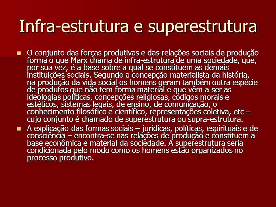 Infra-estrutura e superestrutura O conjunto das forças produtivas e das relações sociais de produção forma o que Marx chama de infra-estrutura de uma