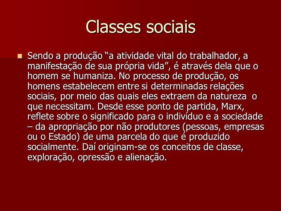 """Classes sociais Sendo a produção """"a atividade vital do trabalhador, a manifestação de sua própria vida"""", é através dela que o homem se humaniza. No pr"""