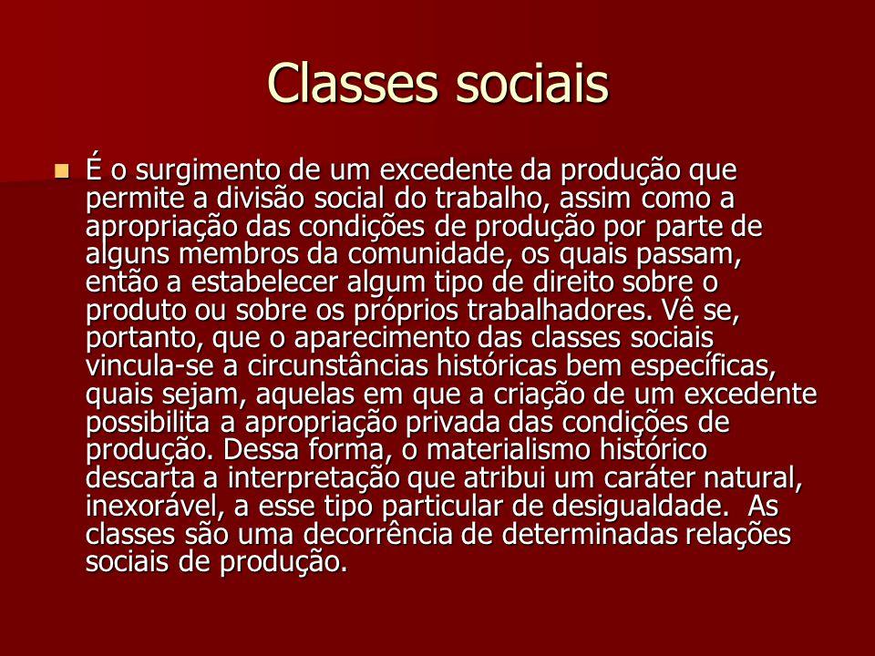 Classes sociais É o surgimento de um excedente da produção que permite a divisão social do trabalho, assim como a apropriação das condições de produçã