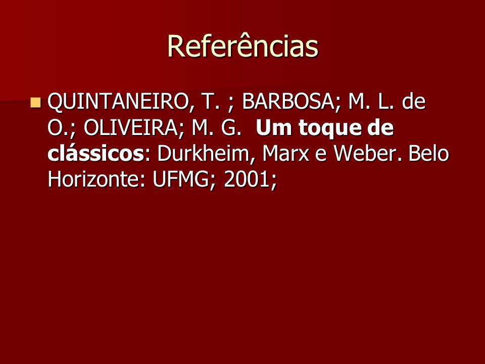 Referências QUINTANEIRO, T. ; BARBOSA; M. L. de O.; OLIVEIRA; M. G. Um toque de clássicos: Durkheim, Marx e Weber. Belo Horizonte: UFMG; 2001; QUINTAN