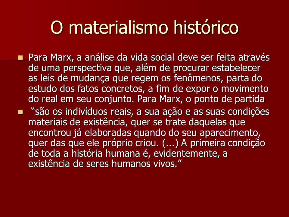 O materialismo histórico Para Marx, a análise da vida social deve ser feita através de uma perspectiva que, além de procurar estabelecer as leis de mu