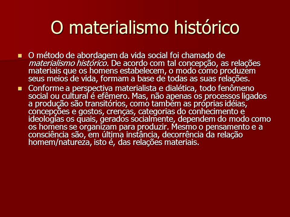 O materialismo histórico O método de abordagem da vida social foi chamado de materialismo histórico. De acordo com tal concepção, as relações materiai