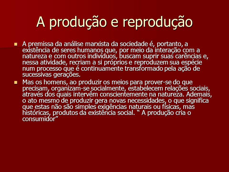 A produção e reprodução A premissa da análise marxista da sociedade é, portanto, a existência de seres humanos que, por meio da interação com a nature