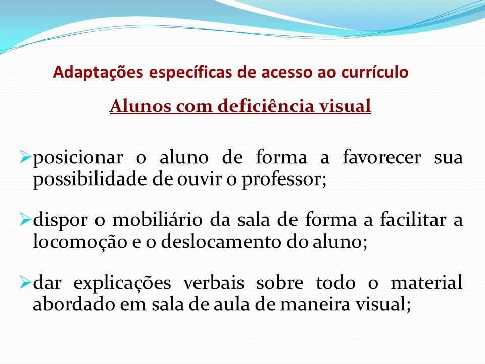 Adaptações específicas de acesso ao currículo Alunos com deficiência visual  posicionar o aluno de forma a favorecer sua possibilidade de ouvir o pro