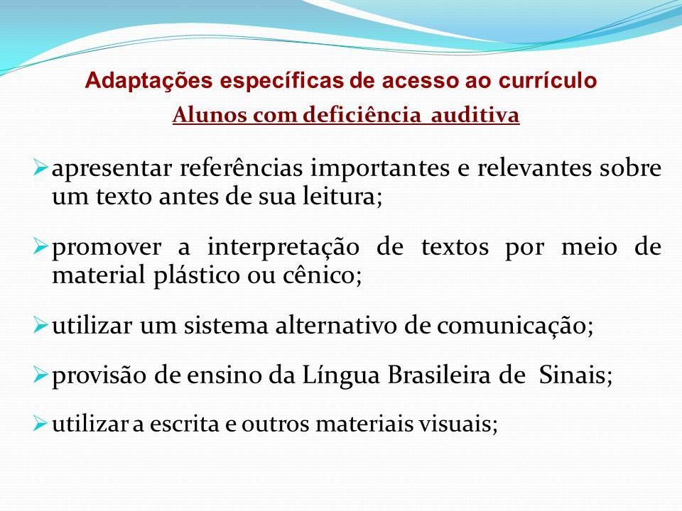 Alunos com deficiência auditiva  apresentar referências importantes e relevantes sobre um texto antes de sua leitura;  promover a interpretação de t