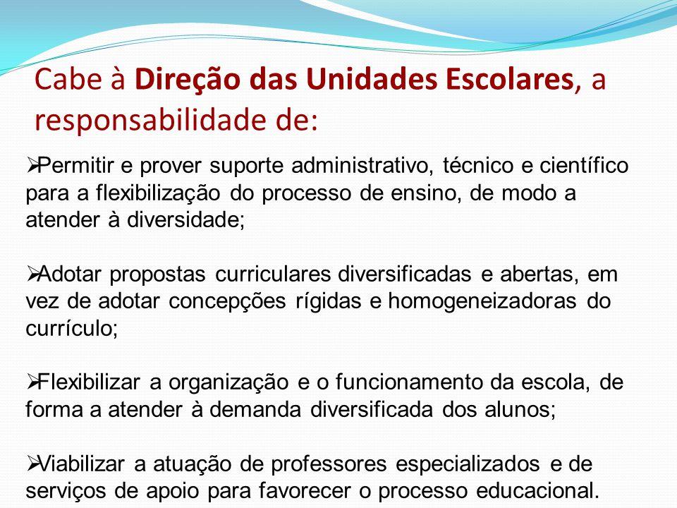 Cabe à Direção das Unidades Escolares, a responsabilidade de:  Permitir e prover suporte administrativo, técnico e científico para a flexibilização d