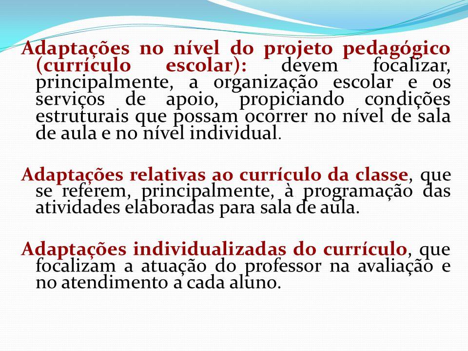 Adaptações no nível do projeto pedagógico (currículo escolar): devem focalizar, principalmente, a organização escolar e os serviços de apoio, propicia