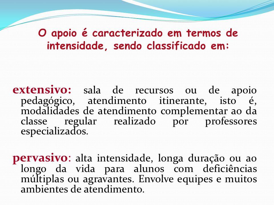 extensivo: sala de recursos ou de apoio pedagógico, atendimento itinerante, isto é, modalidades de atendimento complementar ao da classe regular reali