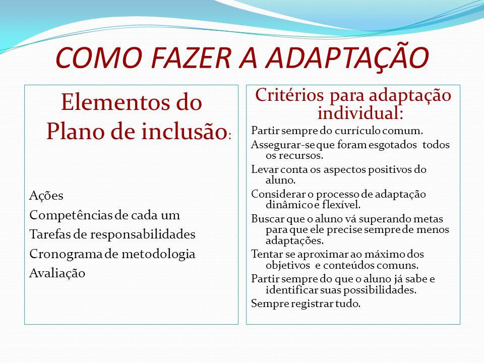 COMO FAZER A ADAPTAÇÃO Elementos do Plano de inclusão : Ações Competências de cada um Tarefas de responsabilidades Cronograma de metodologia Avaliação