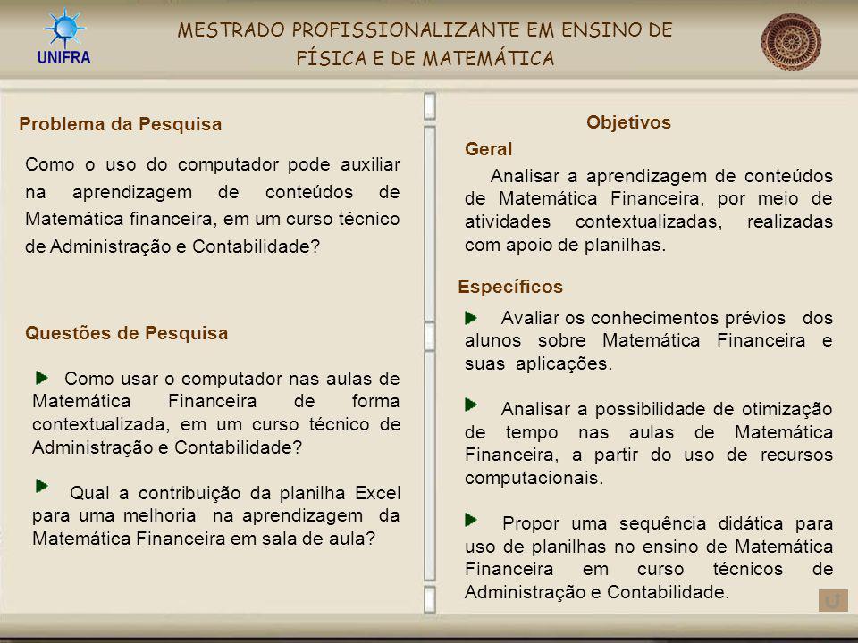 MESTRADO PROFISSIONALIZANTE EM ENSINO DE FÍSICA E DE MATEMÁTICA Avaliar os conhecimentos prévios dos alunos sobre Matemática Financeira e suas aplicaç
