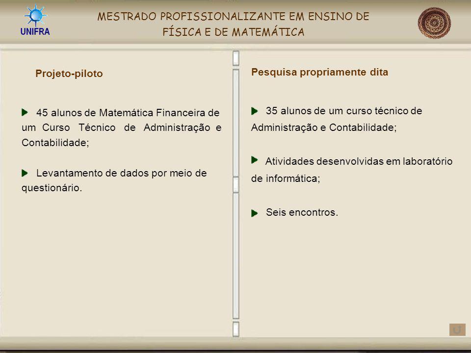 MESTRADO PROFISSIONALIZANTE EM ENSINO DE FÍSICA E DE MATEMÁTICA Projeto-piloto 35 alunos de um curso técnico de Administração e Contabilidade; Ativida