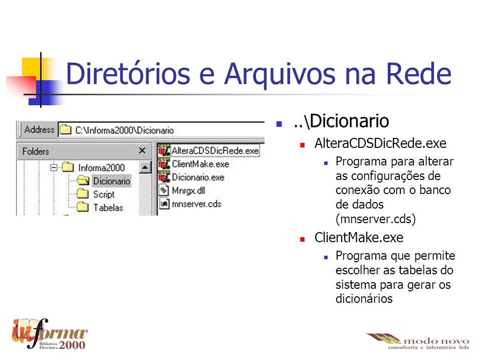 Diretórios e Arquivos na Rede..\ Dicionario AlteraCDSDicRede.exe Programa para alterar as configurações de conexão com o banco de dados (mnserver.cds)