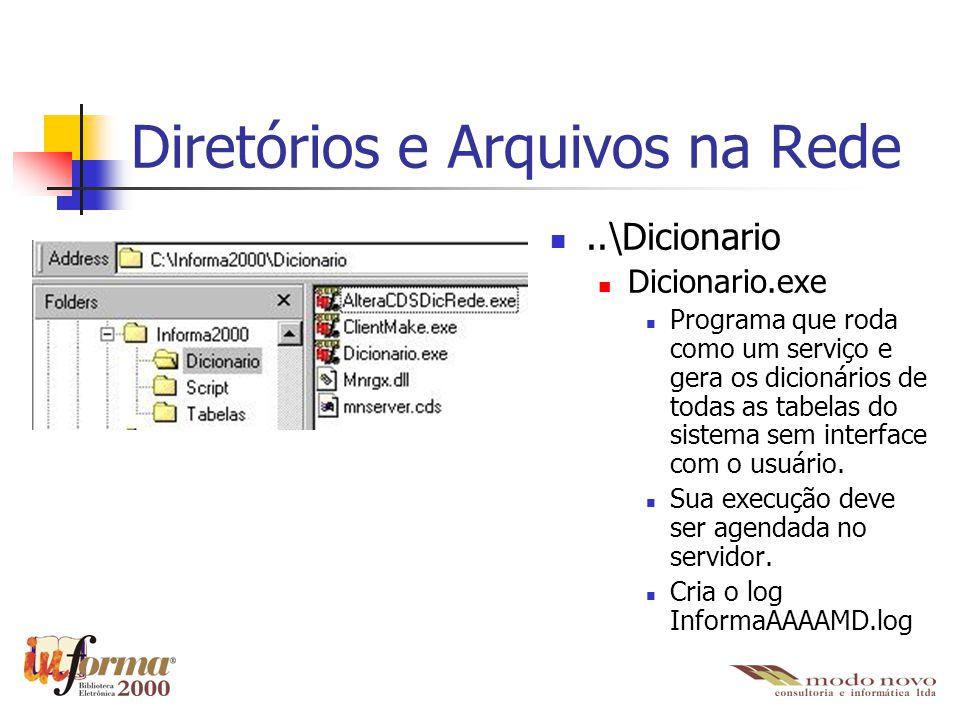 Diretórios e Arquivos na Rede..\Dicionario Dicionario.exe Programa que roda como um serviço e gera os dicionários de todas as tabelas do sistema sem i