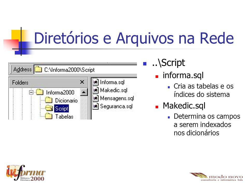 Diretórios e Arquivos na Rede..\Script informa.sql Cria as tabelas e os índices do sistema Makedic.sql Determina os campos a serem indexados nos dicio