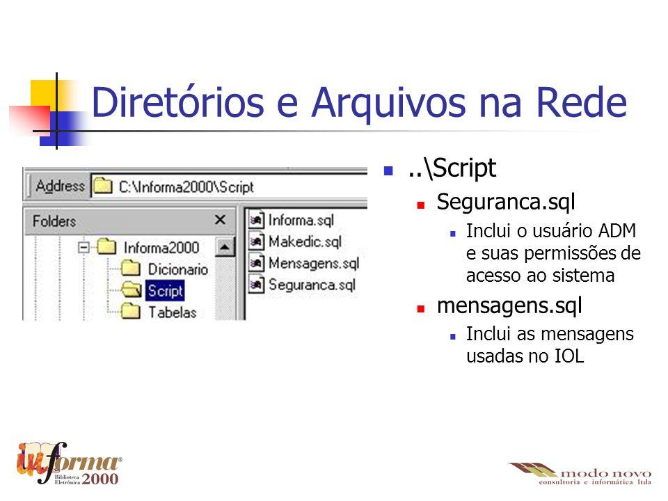 Diretórios e Arquivos na Rede..\Script Seguranca.sql Inclui o usuário ADM e suas permissões de acesso ao sistema mensagens.sql Inclui as mensagens usa