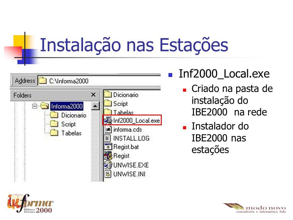 Instalação nas Estações Inf2000_Local.exe Criado na pasta de instalação do IBE2000 na rede Instalador do IBE2000 nas estações