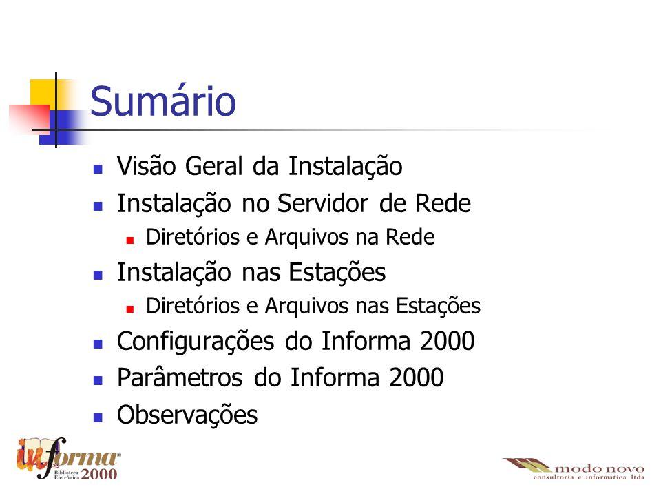 Sumário Visão Geral da Instalação Instalação no Servidor de Rede Diretórios e Arquivos na Rede Instalação nas Estações Diretórios e Arquivos nas Estaç