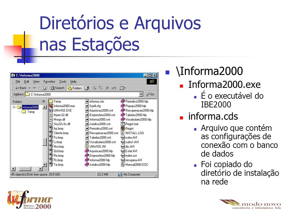 Diretórios e Arquivos nas Estações \Informa2000 Informa2000.exe É o executável do IBE2000 informa.cds Arquivo que contém as configurações de conexão c
