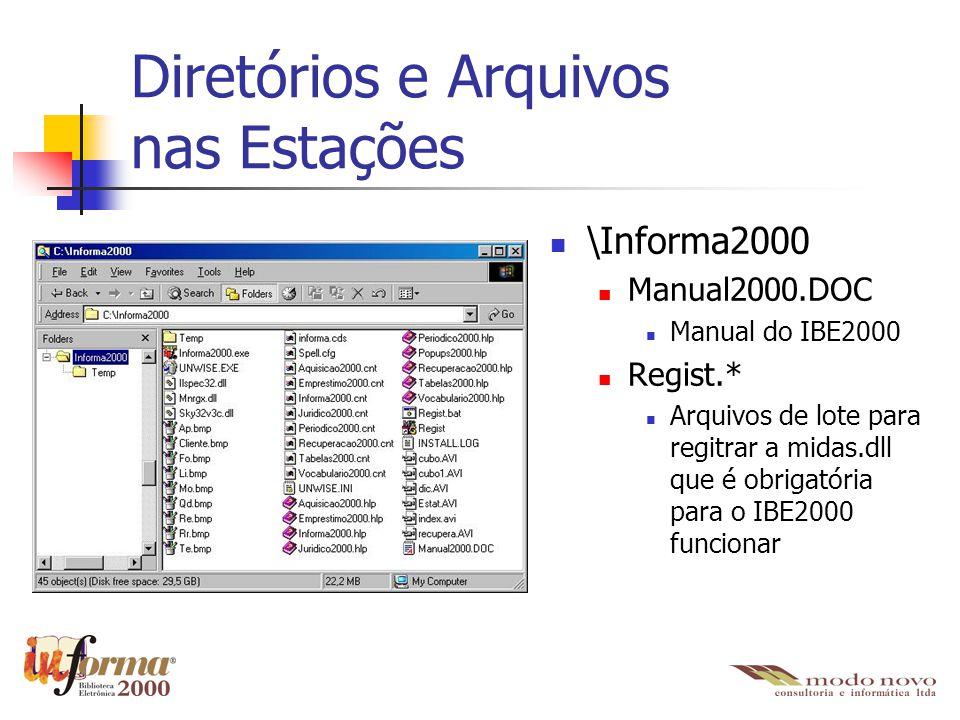Diretórios e Arquivos nas Estações \Informa2000 Manual2000.DOC Manual do IBE2000 Regist.* Arquivos de lote para regitrar a midas.dll que é obrigatória