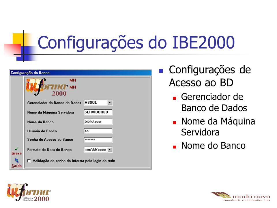 Configurações do IBE2000 Configurações de Acesso ao BD Gerenciador de Banco de Dados Nome da Máquina Servidora Nome do Banco
