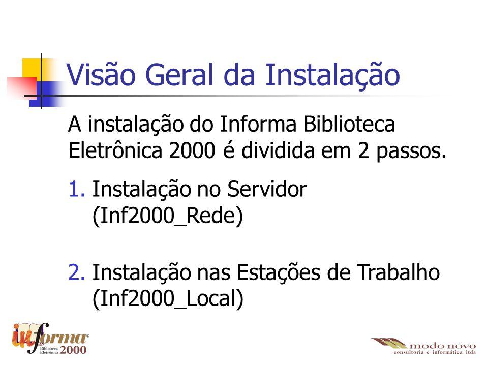 Visão Geral da Instalação A instalação do Informa Biblioteca Eletrônica 2000 é dividida em 2 passos. 1.Instalação no Servidor (Inf2000_Rede) 2.Instala