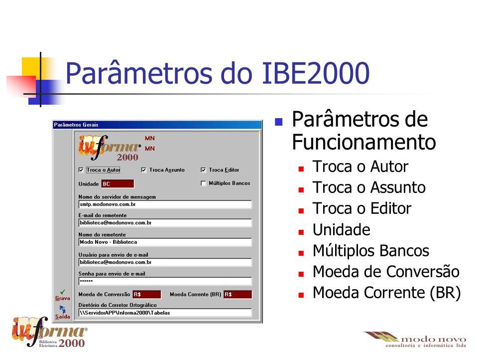 Parâmetros do IBE2000 Parâmetros de Funcionamento Troca o Autor Troca o Assunto Troca o Editor Unidade Múltiplos Bancos Moeda de Conversão Moeda Corre