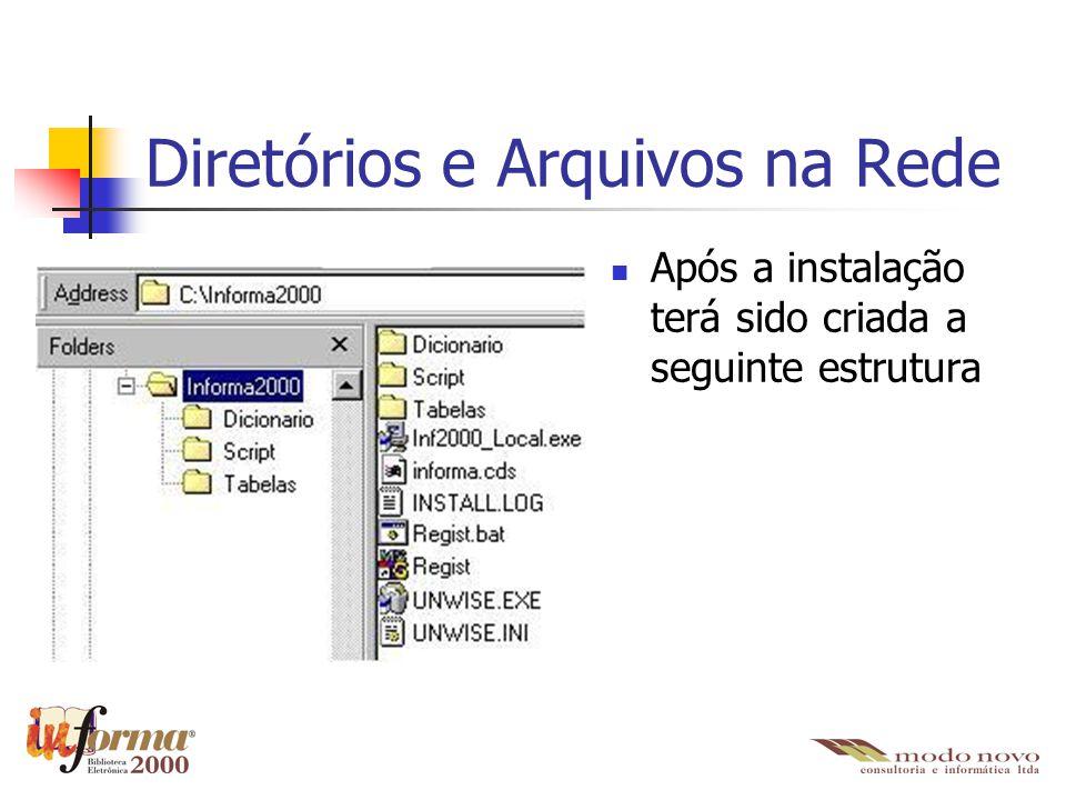 Diretórios e Arquivos na Rede \Informa2000 Inf2000_Local.exe Instalador do IBE2000 para as estações de trabalho informa.cds Arquivo que contém as configurações de conexão com o banco de dados