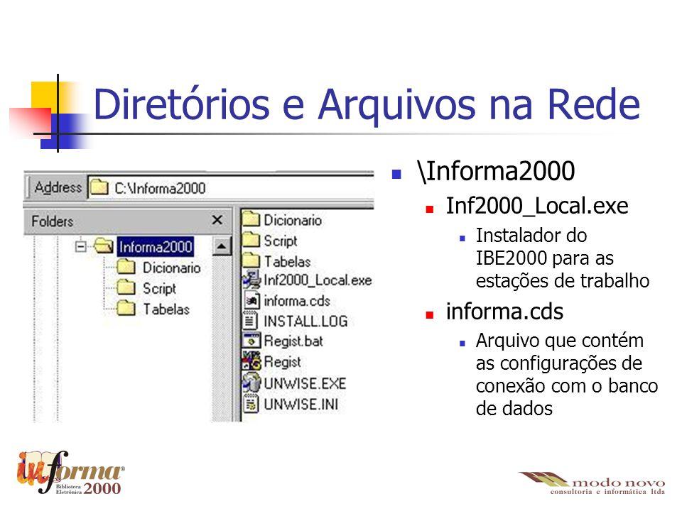 Diretórios e Arquivos na Rede \Informa2000 Inf2000_Local.exe Instalador do IBE2000 para as estações de trabalho informa.cds Arquivo que contém as conf