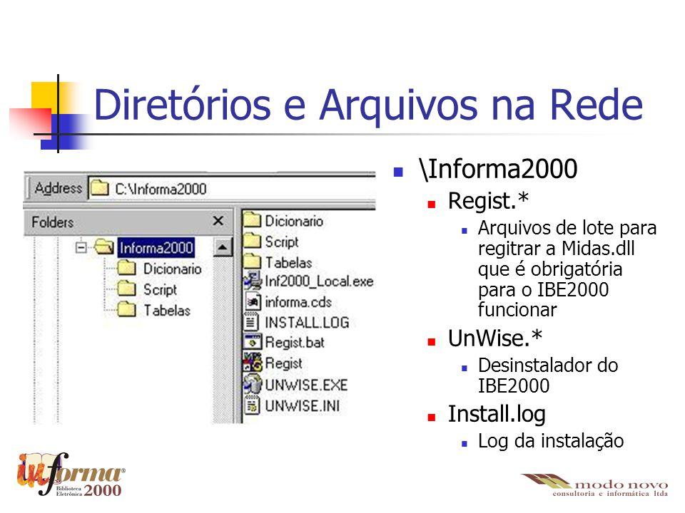 Diretórios e Arquivos nas Estações \Informa2000 Informa2000.exe É o executável do IBE2000 informa.cds Arquivo que contém as configurações de conexão com o banco de dados Foi copiado do diretório de instalação na rede