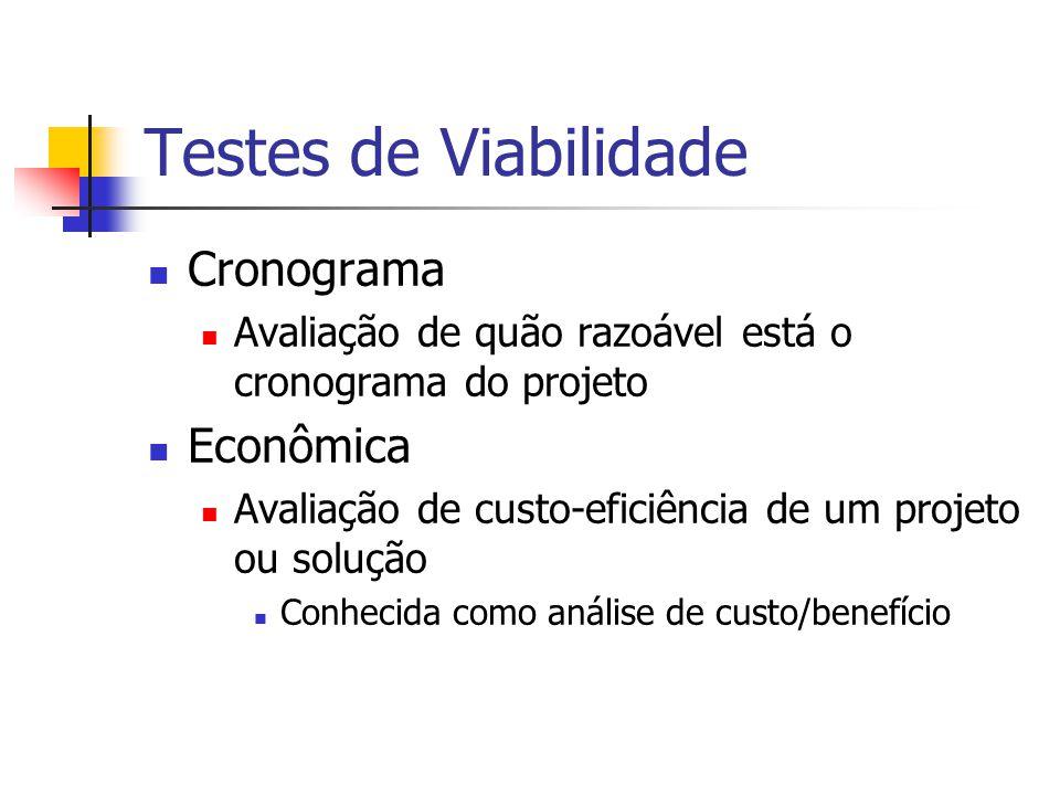 Testes de Viabilidade Cronograma Avaliação de quão razoável está o cronograma do projeto Econômica Avaliação de custo-eficiência de um projeto ou solu