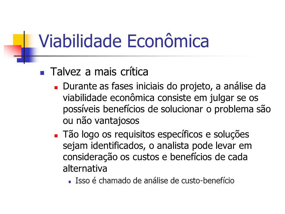 Viabilidade Econômica Talvez a mais crítica Durante as fases iniciais do projeto, a análise da viabilidade econômica consiste em julgar se os possívei
