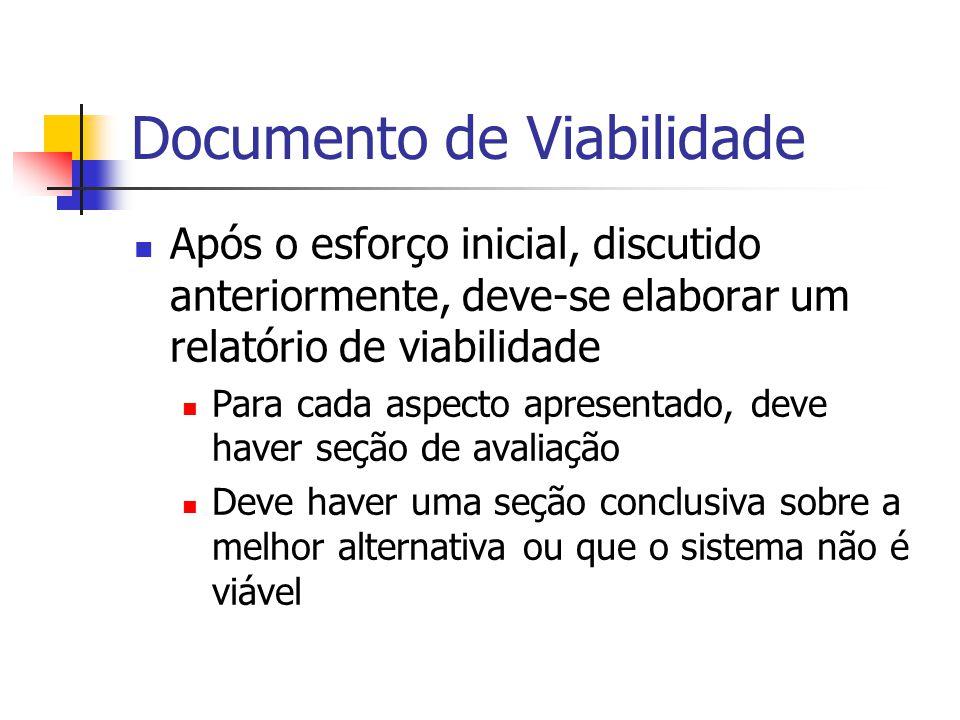 Documento de Viabilidade Após o esforço inicial, discutido anteriormente, deve-se elaborar um relatório de viabilidade Para cada aspecto apresentado,