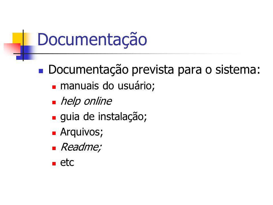 Documentação Documentação prevista para o sistema: manuais do usuário; help online guia de instalação; Arquivos; Readme; etc